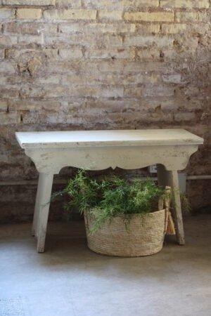 Banco en color crema envejecida madera de abeto 48,5 x 80 x 30 cm