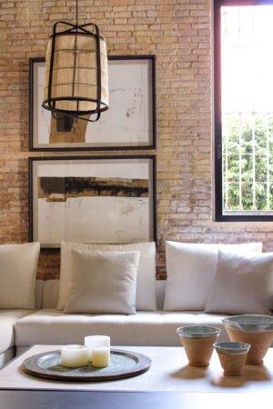 Lámpara de techo bambo negro y lino natural 29,5 x 29,5 x 39,5 cm