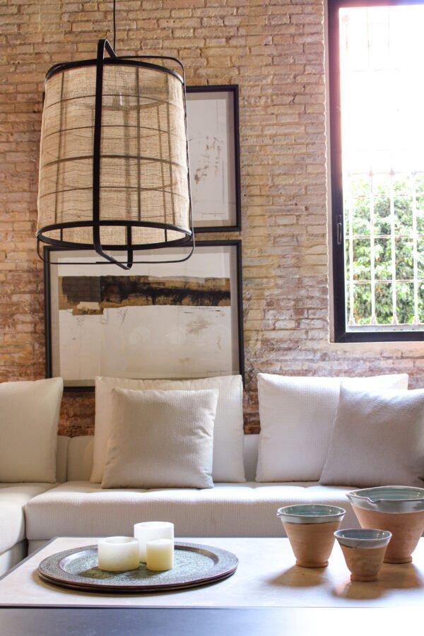 Lámpara de techo bambú negro y lino natural 40 x 40 x 56 cm