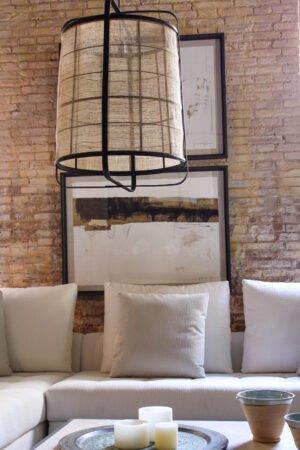 Lámpara de techo bambú negro y lino natural 60 x 60 x 80 cm