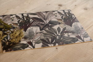 Vinilo impreso vegetación y cacatúa tono gris 33 x 45 x 0,24 cm