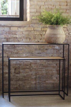 Consola metal y madera natural 100 x 30 x 80 cm