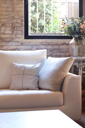 Funda de cojín algodón 100% hilo teñido efecto lino 45 x 45 cm
