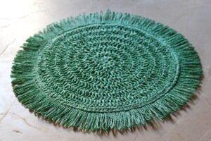 Salvamantel redondo de rafia color turquesa diámetro 40 cm.