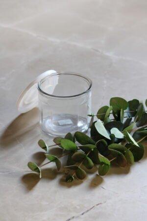 Caja vidrio tapa plástico L 13 x 13 x10.5 cm
