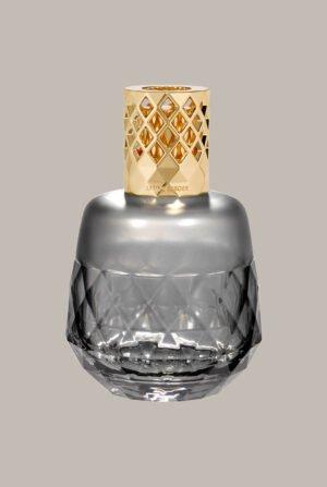 Lámpara redonda geométrica gris con montura color champagne 4707